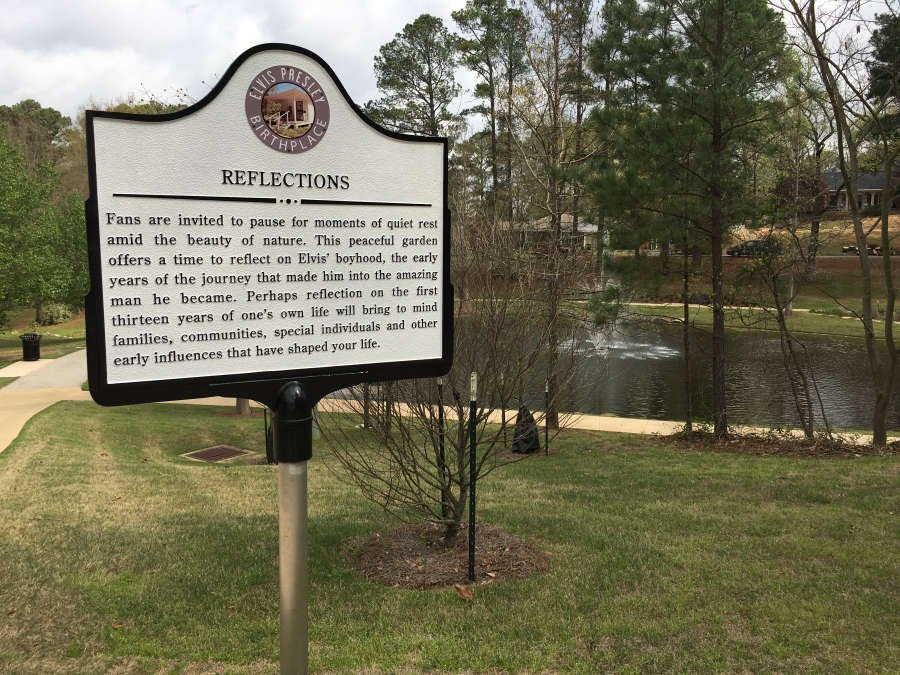 reflections lake dedicated at elvis presley birthplace